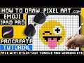 How to Draw Emoji 😜 Winking with Tongue Sticking Out - Procreate Pixel Art