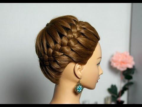Прическа на длинные и средние волосы Корзинка. Плетение косы вокруг головы.