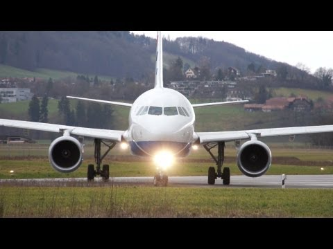 Spectacular Airbus A320 landing & take off at Airport Bern-Belp