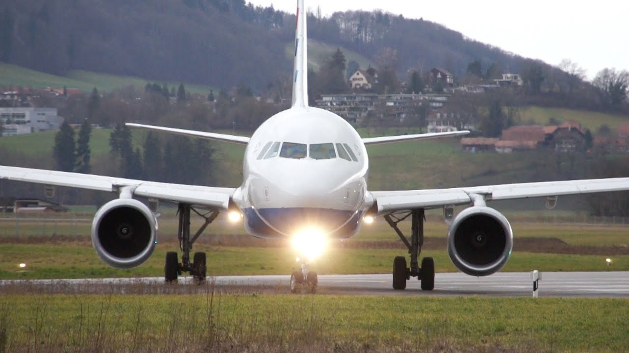 spectacular airbus a320 landing take off at airport bern belp youtube. Black Bedroom Furniture Sets. Home Design Ideas