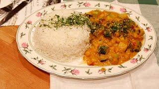 Кабачки с кари и нутом по индийски. Индийская кухня по вегански.