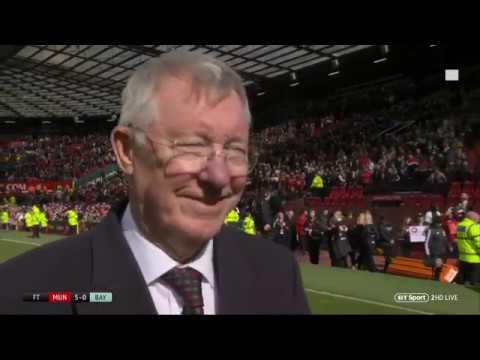 Sir Alex Ferguson speaks after the Man Utd legends vs Bayern Munich legends game