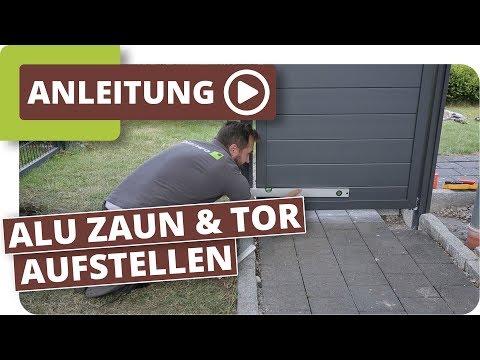aluminium-sichtschutzzaun-mit-gartentor-aufbauen