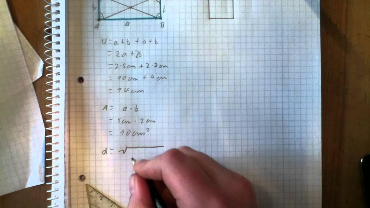 Rechteck und Quadrat berechnen - Umfang, Flächeninhalt, Diagonalen ...
