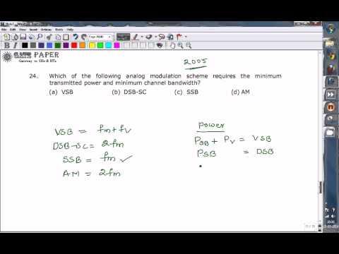 GATE 2005 ECE minimum bandwidth and power requirement of analog modulation scheme