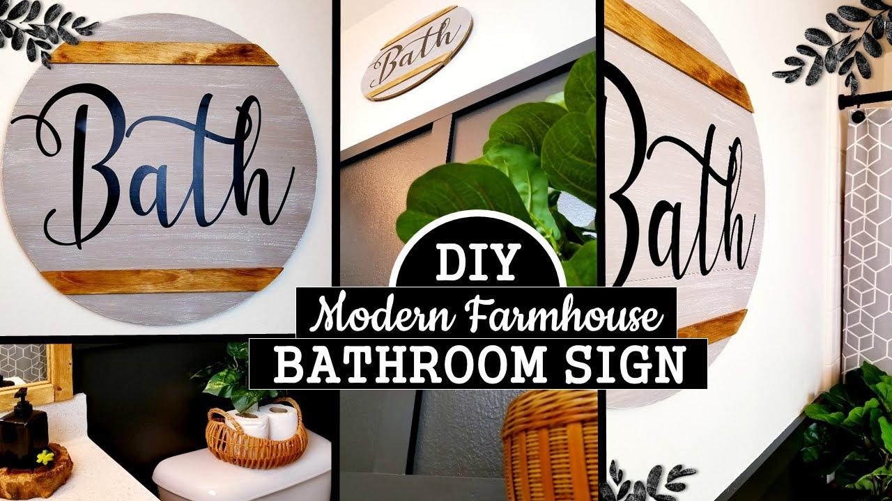 Easy Bathroom Sign Diy Modern Farmhouse Bathroom Decor Youtube