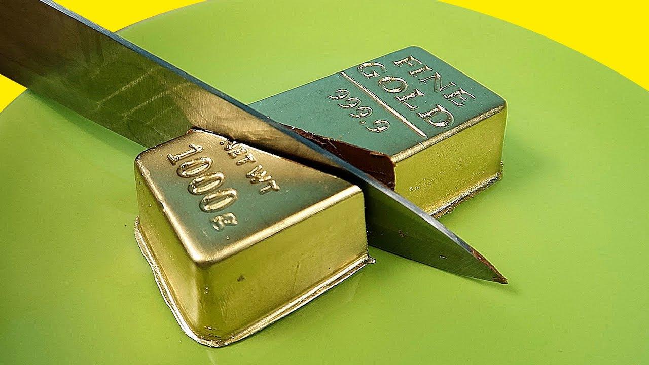 Как сделать сьедобный золотой слиток из шоколада своими руками! alex boyko