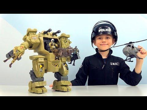 Робот ЗАЩИТНИК и солдатики - Даник и игрушки для мальчиков