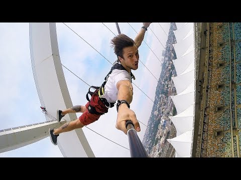 Biggest Swing in The World -  Rope-Jumping at Moses Mabhida Stadium, Durban, South Africa