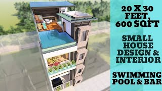 20x30 Feet Small House Design With Interior  Ideas | Infinity Swimming Pool At Rooftop