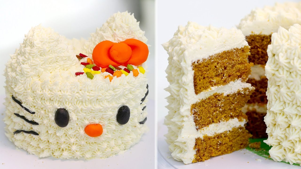 Hello Kitty Pumpkin Spice Cake With Cream Cheese Frosting