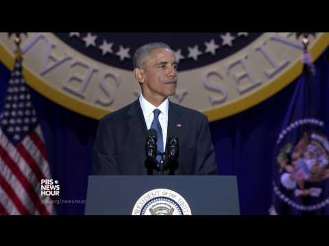 For the final time, Obama leads the crowd in 'Yes We Can' chant