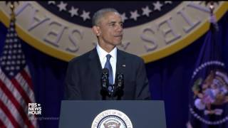 For the final time, Obama leads the crowd in