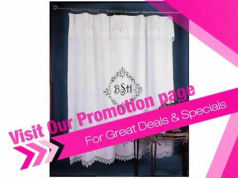 White Battenburg Lace Monogrammed Shower Curtain