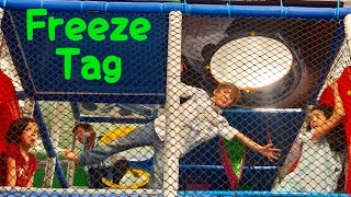FREEZE TAG IN TRAMPOLINE PARK  | SILLY FAMILY GAMES