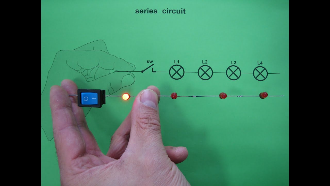4 LEDs powered by hands - series circuit
