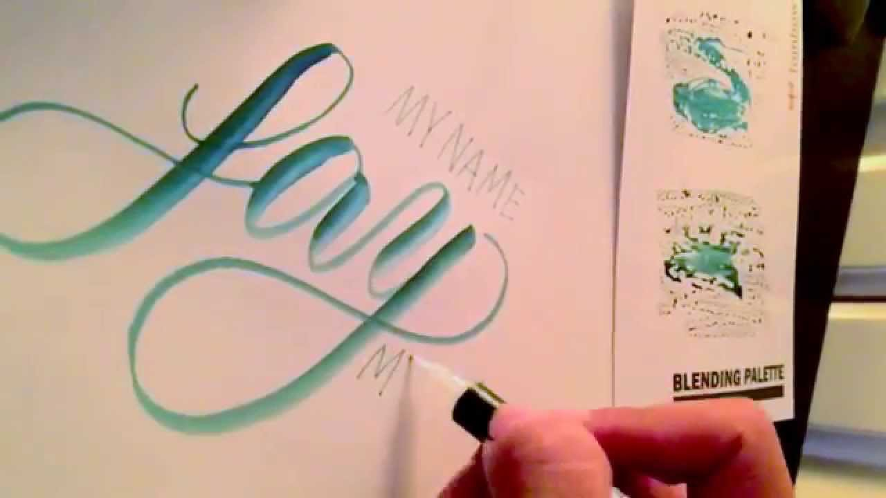 Writing brush pen calligraphy and using tombow blending palette