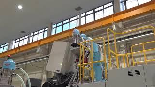 再生樹脂・添加剤定量混合制御によるオンラインブレンド成形と物理発泡による軽量化・低圧安定成形。全電動式射出成形機 EC650SXⅢ-26BP (ソリューションフェア2018 東芝機械)