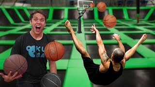 TRAMPOLINE PARK TRICK SHOTS, DUNKS, and WORLD RECORD!!!