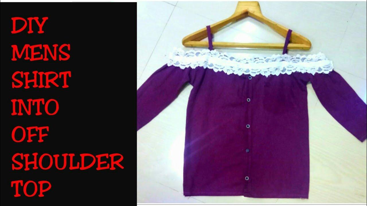 67497a445b9 DIY Men s Shirt into Off Shoulder Shirt Dress in 5 minutes