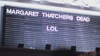 Margaret Thatcher death party in Brixton: LOL sign put up at Ritzy cinema, London