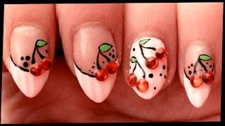 Cherries on Pastel Pink nail art