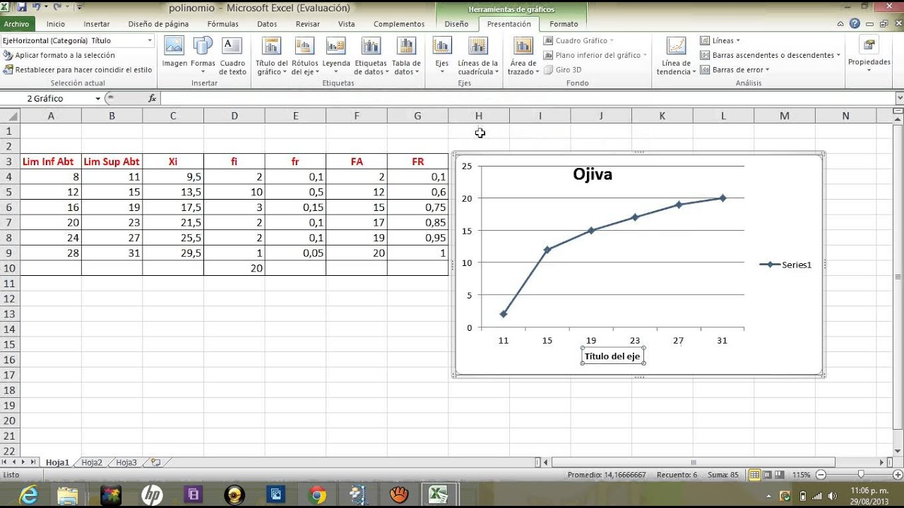 Grafica De Ojiva De Con Excel 2010