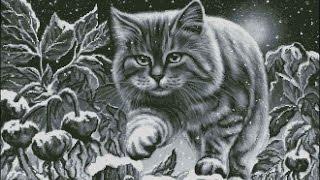 Вышивка крестом. Начало новой работы!!!)) Снежный котик, отчет 1.  А еще, конечно же, болталка!)))))