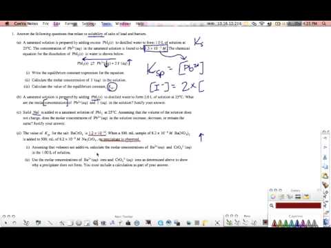 AP Chemistry Ksp 2006 A - YouTube