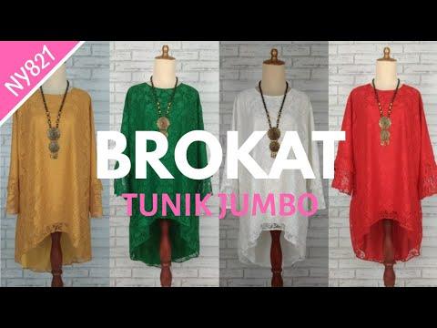 Model Tunik Brokat Trend 2019 || Atasan Brokat Big Size Mewah