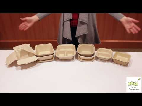 Compostable Fiber Disposable To Go Boxes Demonstration By Good Start Packaging