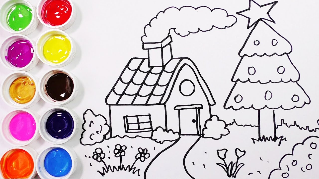 Como Dibujar Y Colorear Una Casa Con Arbol De Pino Dibujos Para