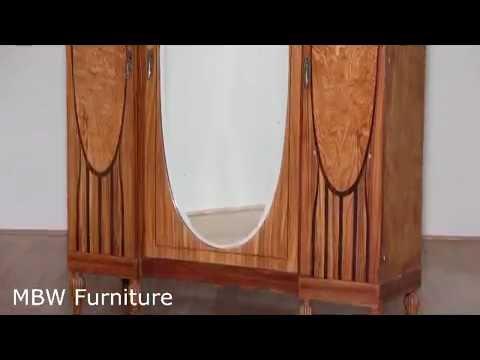 Antique Large French Marquetry Golden Oak Art Deco 3 Door Armoire Wardrobe  BAG75C
