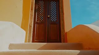 Mediterranean House With Yellow Stairs Stock Video