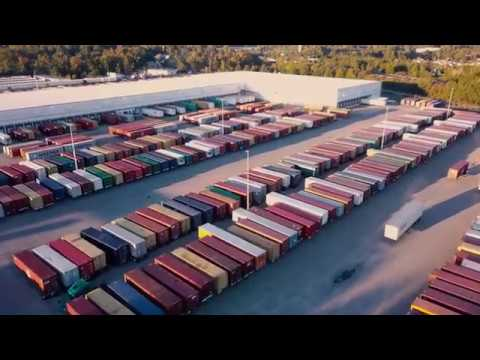 Drone Footage Flying Over Shipping Containers