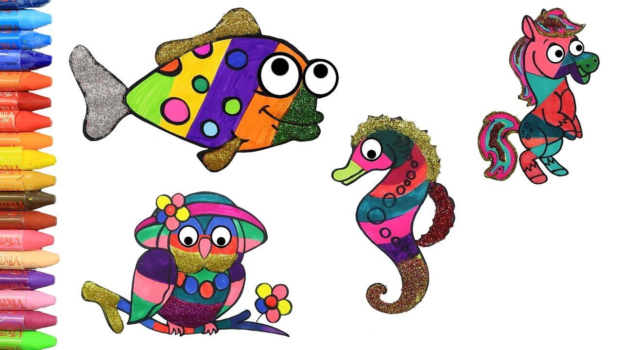 Как нарисовать сова - лошадь - морской конек - рыбы | Раскраски детей HD | Рисование и окраска 🎨