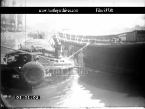 Manchester Ship Canal in the 1950's.  Archive film 93738