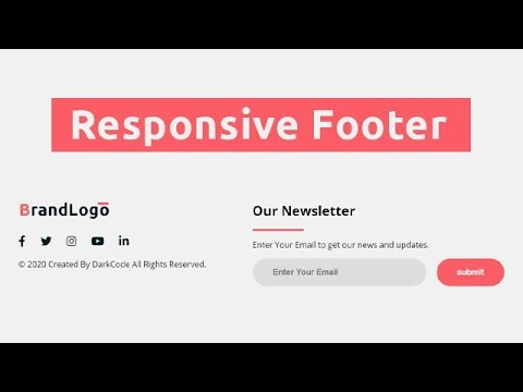 Responsive Footer Section Using HTML & CSS