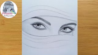 Download lagu How to draw eyes -  step by step || A girl with hijab - Pencil sketch || ارسم فتاة بالحجاب