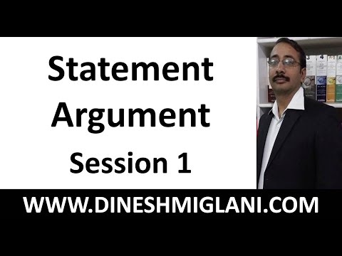 Best Tricks and Shortcuts of Statement Argument  Session 1 by Dinesh Miglani Sir