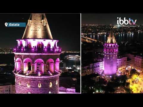 Galata Kulesi pembe renkle aydınlatıldı
