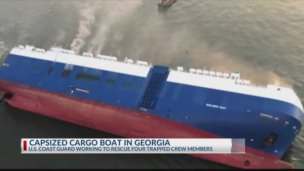 Coast Guard rescues crew from cargo vessel on its side off Georgia coast
