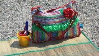 Вязание из пакетов.  Летняя пляжная сумка из пакетов- маечек. Ч.5