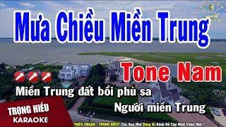 Karaoke Mưa Chiều Miền Trung Tone Nam Nhạc Sống | Trọng Hiếu
