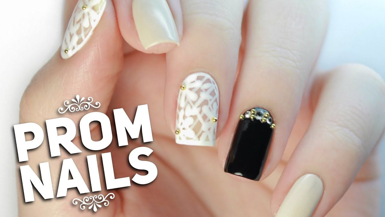 floral lace prom nail art design