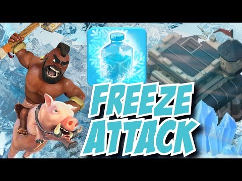 Clash of Clans | Hog Rider + Freeze Spell Attack! GOHO Attack Strategy!