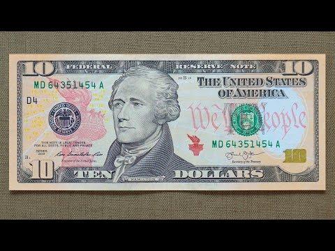 10 US Dollars Banknote (Ten Dollars USA: 2013) Obverse & Reverse