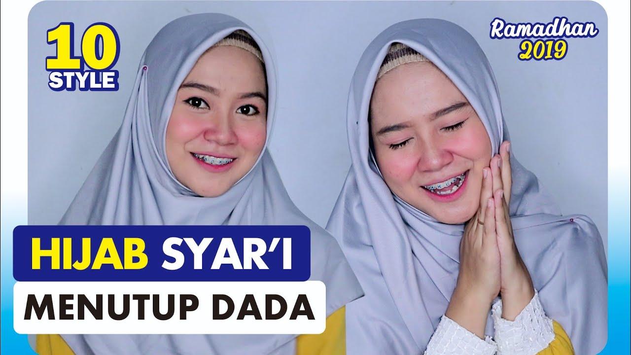 10 Tutorial Hijab Segi Empat Syar I Menutup Dada Anti Chubby Youtube