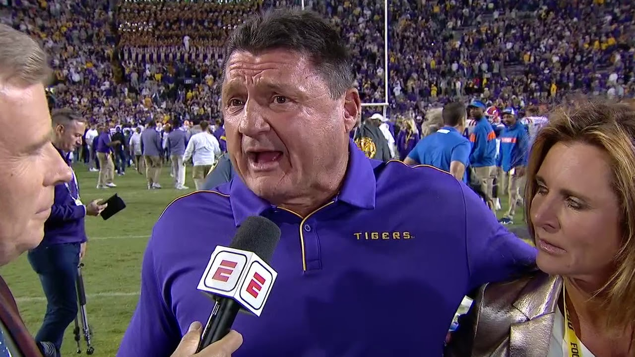 Lsu Ed Orgeron Postgame Interview After Beating Florida College Football Highlights 2019 2020 Youtube