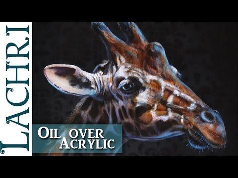 Giraffe oil over acrylic painting demonstration w/ Lachri
